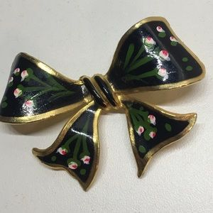 Vintage 1960 hand painted bow brooch